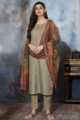 Sand Grey Color Satin Straight Dress With Zari Embroidery Work