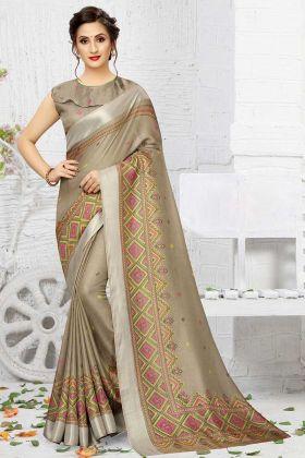 Sand Grey Linen Casual Saree For Women