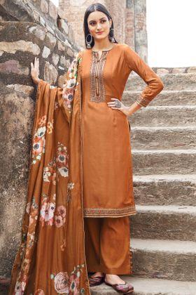 Sandstone Muslin Party Wear Salwar Suit Online