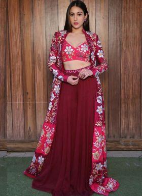 Sara Ali Khan Maroon Palazzo Suit With Printed Koti