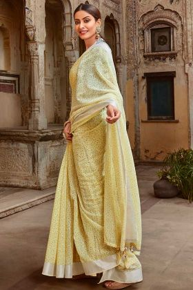 Saree Blouse Design In Jute Cotton Light Yellow Color