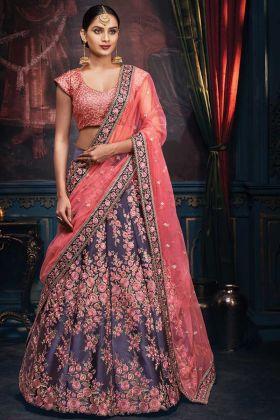 Satin Carbon Blue Wedding Heavy Embroidered Lehenga Choli