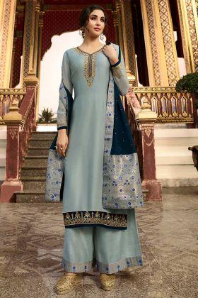 Satin Georgette Grey Palazzo Salwar Kameez For  Girls