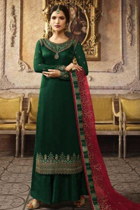 Satin Georgette Party Wear Dark Green Plazzo Suit