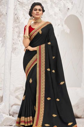 Satin Georgette Saree Embroidery Work Black Color