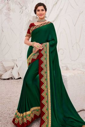 Satin Georgette Saree Embroidery Work Green Color