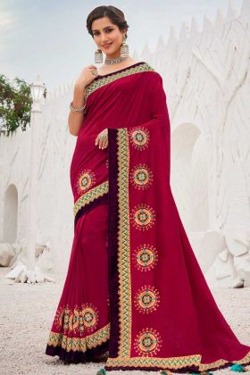 Satin Georgette Saree Embroidery Work Rani Pink Color