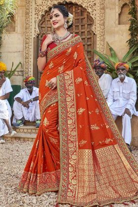 Satin Jacquard Silk Orange Color Traditional Saree