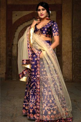 Satin Purple Digital Printed Lehenga Chunni