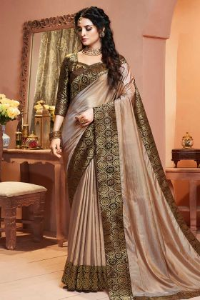 Satin Silk Beige Weaving Work Border Saree