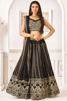 Satin Silk Black Color Coding Work Lehenga Choli