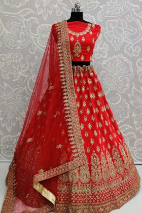 Satin Silk Bridal Lehenga Choli In All Over Red Color