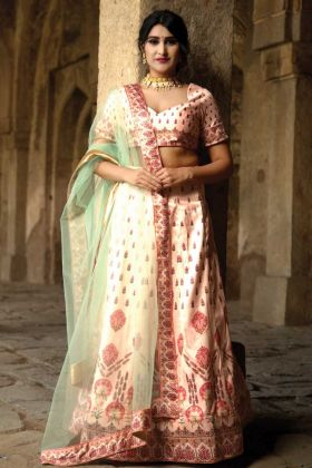 Satin Silk Bridesmaid Peach Lehenga Choli In Digital Print