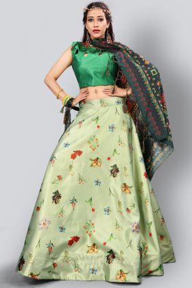 Satin Silk Digital Printed Pastel Green Lehenga Choli