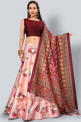 Satin Silk Digital Printed Pink Color Lehenga Choli