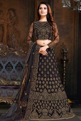 Net And Satin A - Line Lehenga Choli Black Color With Stone Work