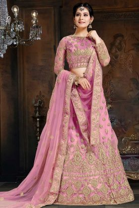 Net And Satin A - Line Lehenga Choli Pink Color With Coding Embroidery Work