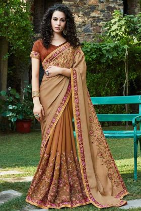 Satin and Georgette Festival Saree Zari Embroidery Work In Beige and Brown Color