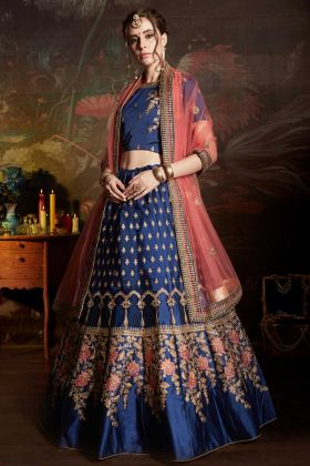 Satin Bridal Lehenga Choli Blue Color With Embroidery Work