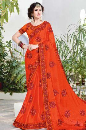 Satin Chiffon Orange Festive Saree Online
