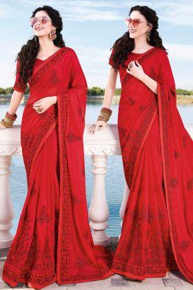 Satin Chiffon Red Wedding Saree Online