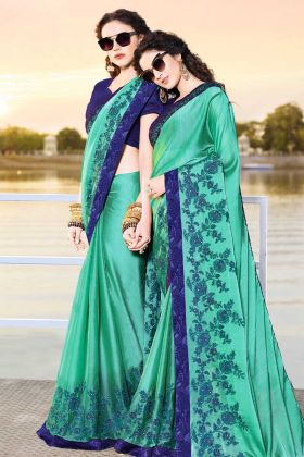 Satin Chiffon Sea Green Embroidery Saree