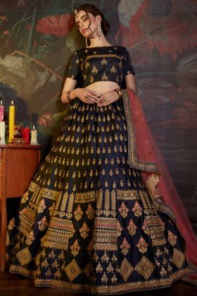 Satin Circular Lehenga Choli Embroidery Work In Navy Blue Color
