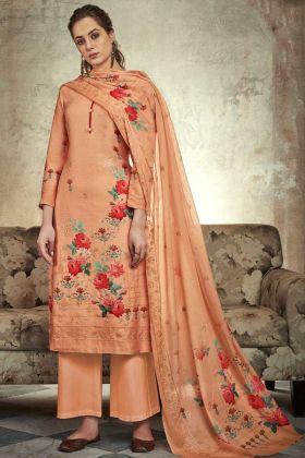 Satin Cotton Pakistani Dress Light Orange Color With Sequence Work