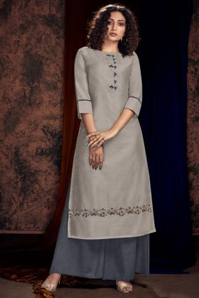 Satin Cotton Party Wear Palazzo Kurti Set In Light Grey Color