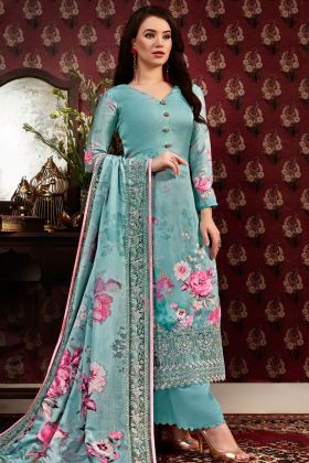 Satin Crepe Blue Straight Salwar Suit