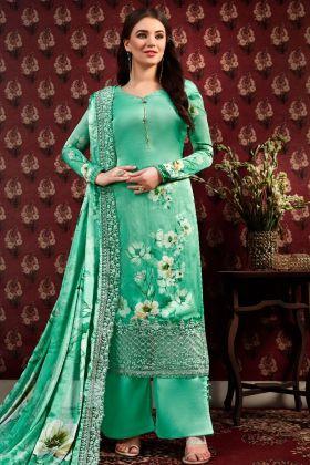 Satin Crepe Light Green Dress Material