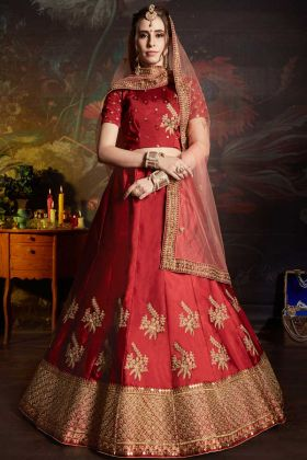 Satin Designer Bridal Lehenga Choli Red Color With Embroidery Work