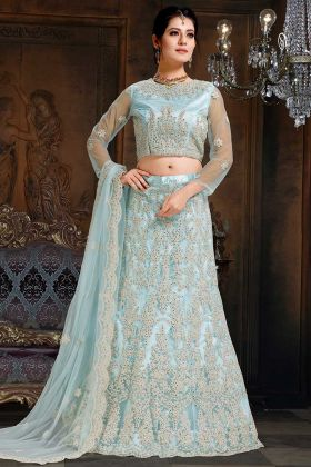 Net And Satin Designer Lehenga Choli Baby Blue Color With Coding Embroidery Work