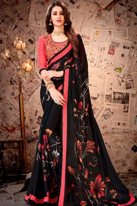 Satin Georgette Resham Embroidery Black Color Party Wear Saree