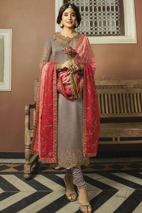 Satin Georgette Beige Dress Material