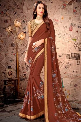 Satin Georgette Casual Saree Printed Work In Brown Color