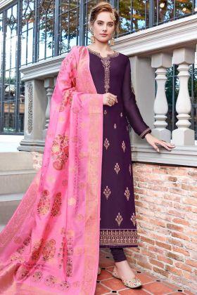 Satin Georgette Churidar Salwar Suit Embroidery Work In Purple Color