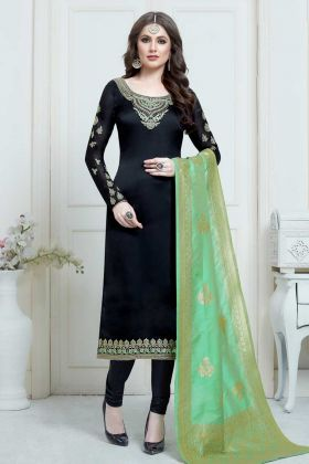 Satin Georgette Churidar Suit Black Color With Jari Embroidery Work