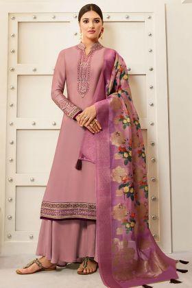 Satin Georgette Designer Palazzo Salwar Suit With Digital Printed