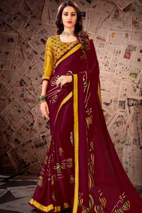 Satin Georgette Designer Saree Wine Color With Printed Work