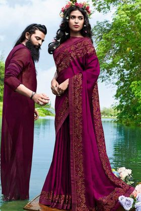 Satin Georgette Designer Saree Wine Color With Thread Embroidery Work