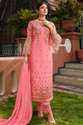 Satin Georgette Embroidered Salwar Suit Dupatta