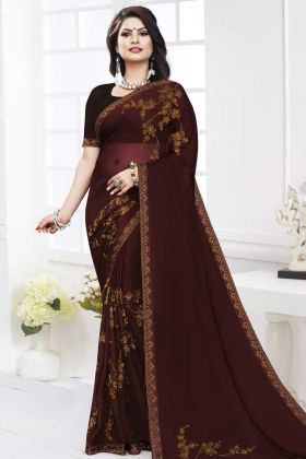 Satin Georgette Festival Saree Coding Work In Dark Brown Color