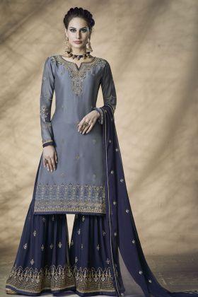 Satin Georgette Grey Sharara Salwar Kameez Online