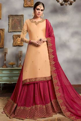 Satin Georgette Indo Western Dress Light Orange Color With Embroidery Work