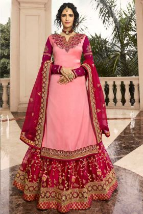 Satin Georgette Indo Western Salwar Kameez In Pink Color