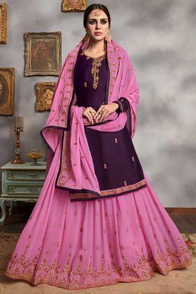 Satin Georgette Indo Western Salwar Kameez Stone Hand Work In Purple Color