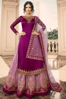Satin Georgette Indo Western Salwar Suit In Purple Color