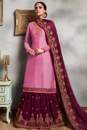 Satin Georgette Indo Western Salwar Suit Light Pink Color With Embroidery Work