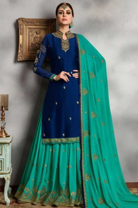 Satin Georgette Indo Western Suit Stone Hand Work In Blue Color